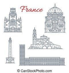 francia, viaje, vector, señales, iconos