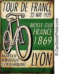 franciaország, bicikli, ábra, bicikli, skicc, poszter, kirándulás, szüret, ellen-