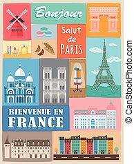 franciaország, modern, poszter
