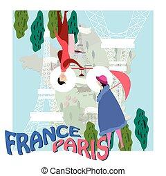 franciaország, romantikus, poszter