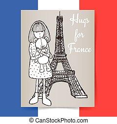 franciaország, skicc, condolences, poszter
