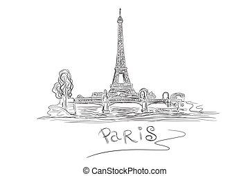 franciaország, skicc, eiffel, párizs, bástya