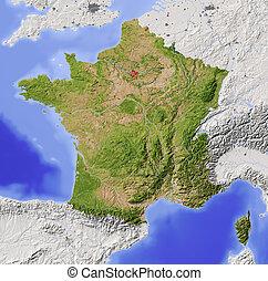 franciaország, térkép, árnyékolt, megkönnyebbülés
