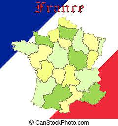 franciaország, térkép, felett, nemzeti, befest