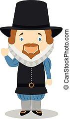 Francis Bacon cartoon character. Vector Illustration.