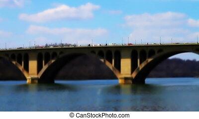 Francis Scott Key Memorial Bridge Washington DC Tilt Shift...