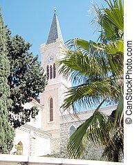 franciscan, タワー, 時計, 教会, jaffa, 2011