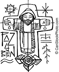 Hand drawn vector illustration or drawing of a Franciscan broither and religious christian symbols