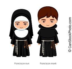 Franciscan monk and nun. Catholics. Religious man and woman. Cartoon character. Vector illustration.