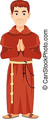 Franciscan monk in a cassock and rosary