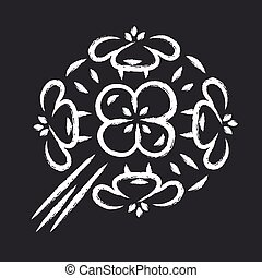 Franciscan wallflower chalk icon. Garden flowering plant. Erysimum franciscanum. Blooming wildflower, weed. Spring blossom. Isolated vector chalkboard illustration