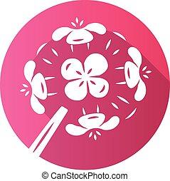 Franciscan wallflower pink flat design long shadow glyph icon. Garden flowering plant. Erysimum franciscanum. Blooming wildflower, weed. Spring blossom. Vector silhouette illustration