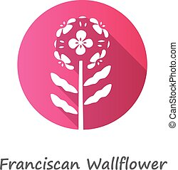 Franciscan wallflower pink flat design long shadow glyph icon. Garden flowering plant with name. Erysimum franciscanum inflorescence. Blooming wildflower, weed. Vector silhouette illustration
