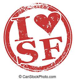 francisco, liebe, san, briefmarke, runder , sf, rotes