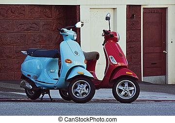 francisco, san, 二, 摩托车, 街道, downhill