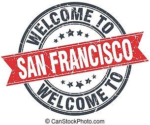 francisco, san, 切手, 型, 歓迎, ラウンド, 赤