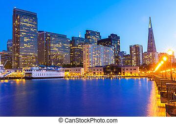 francisco, san, 加利福尼亞, 7, 傍晚, 碼頭