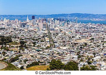 francisco, san, gêmeo, skyline, califórnia, picos