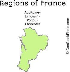 francja, administracyjny, mapa, od, aquitaine-limousin-poitou-charentes
