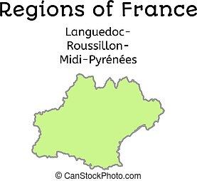 francja, administracyjny, mapa, od, lang-rouss-midi-pyr