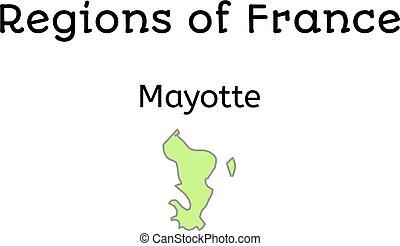 francja, administracyjny, mapa, od, mayotte