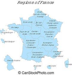 francja, administracyjny, mapa, z, nowy, okolice