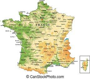 francja, fizyczny, mapa