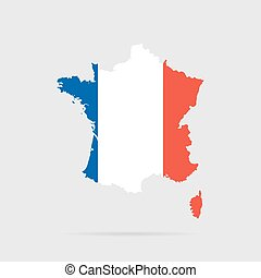 francja, flag., wektor, silhouette.