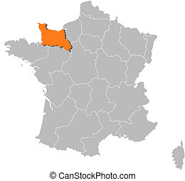 francja, mapa, niższy, highlighted, normandy