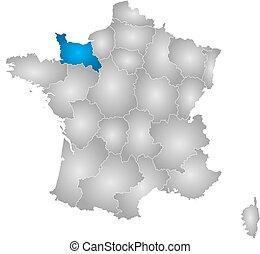 francja, mapa, niższy,  -,  Normandy
