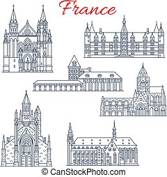 francja, nievre, guerande, wektor, architektura, ikony