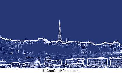 francja paryża, miasto skyline