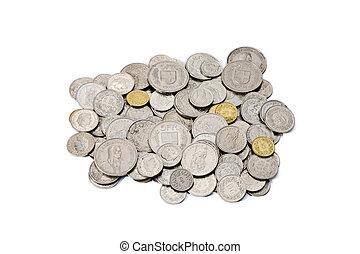 franco, coins, rappen, pila, sucio, suizo