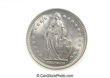 franco svizzero, bianco, moneta, isolato