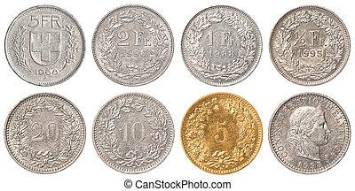 franco svizzero, moneta, set