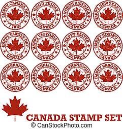 francobolli, canadese, gomma