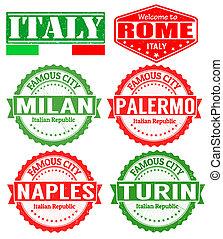 francobolli, città, italia