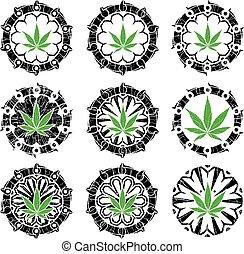 francobolli, disegno, marijuana, textured