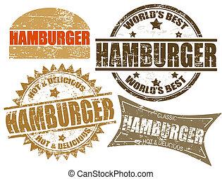 francobolli, hamburger