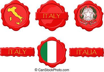 francobolli, italia, cera