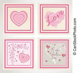 francobolli, set, giorno, fidanzato