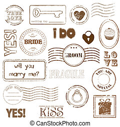 francobolli, set, matrimonio