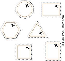 francobolli, vettore, aeroplano