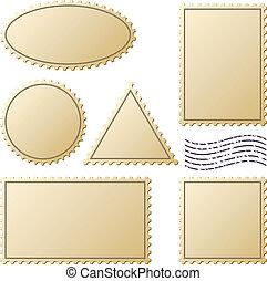 francobolli, vettore, set