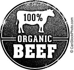 francobollo, 100%, organico, manzo