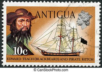 francobollo, -, 1970, ketch, teach), stampato, antigua, (edward, circa, mostra, pirata, 1970:, blackbeard