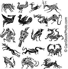 francobollo, antico, animale