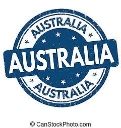 francobollo, australia, o, segno