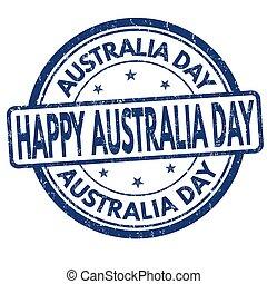 francobollo, australia, segno, o, giorno
