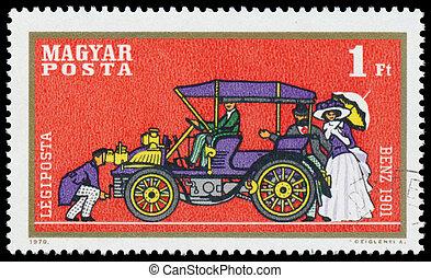 francobollo, automobile, benz, stampato, ungheria, mostra
